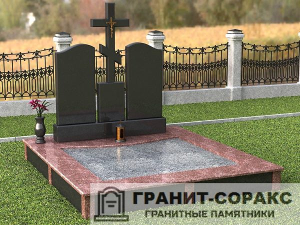 Мемориал из гранита на кладбище №1