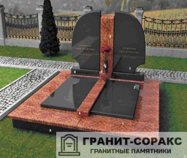 Мемориал из гранита на кладбище №5